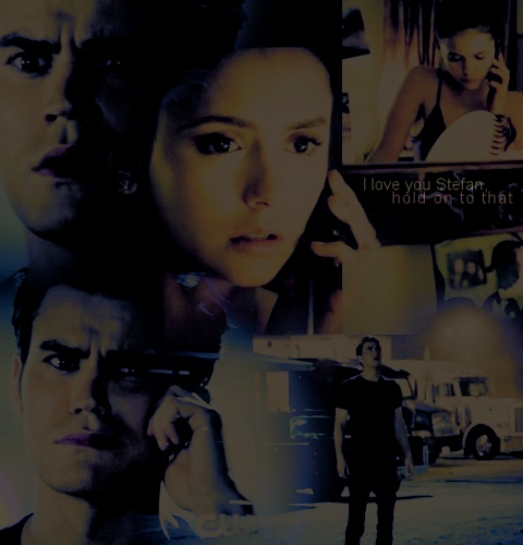 Stefan & Elena wallpaper probably containing anime called stelena