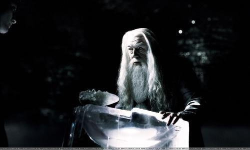 Dumbledore in the cave with Harry