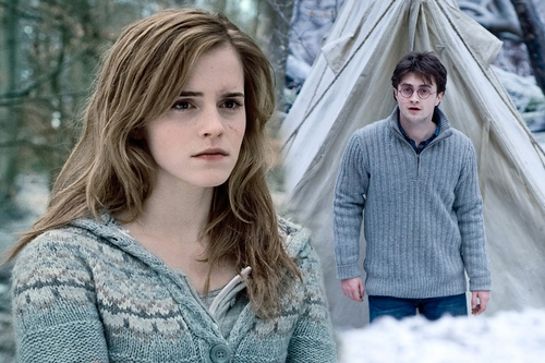 Harry and Hermione wallpaper possibly containing a pullover titled Harry and Hermione