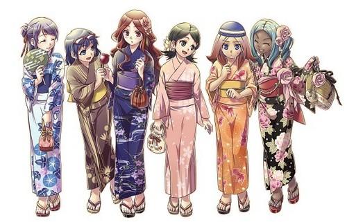 Inazuma girls: кимоно