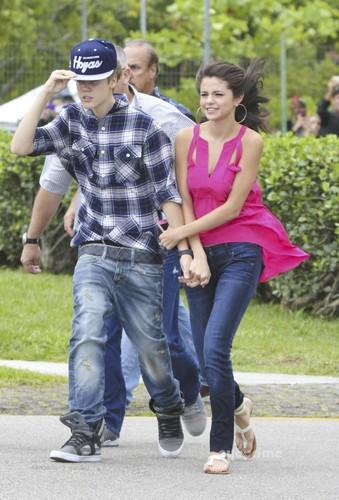 Justin Bieber and girlfriend Selena Gomez go for a helicopter ride in Rio de Janeiro.