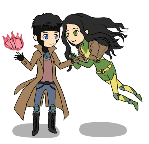 Katie and Colin as Gambit and Rogue from X-Men.