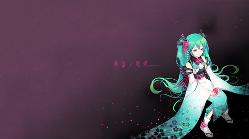 Hatsune Miku Hintergrund probably containing a sign entitled Miku!