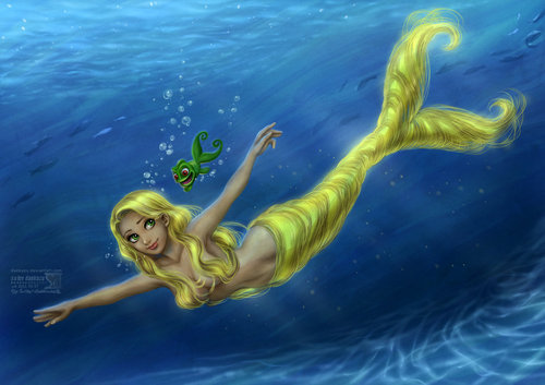 Rapunzel as a mermaid