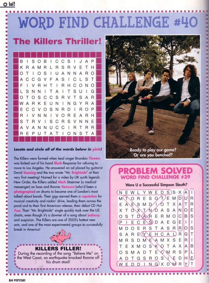 The Killers images The Killers word search game HD wallpaper and background photos