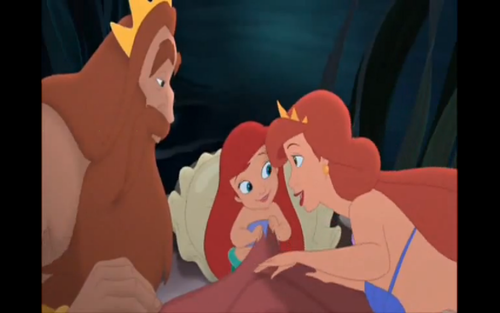 Young Ariel Brown Hair Triton And Athena Before Her Death بستر Scene