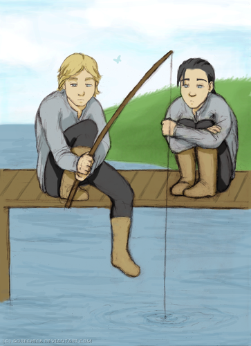 young Thor & Loki fishing