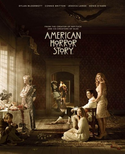 American Horror Story karatasi la kupamba ukuta possibly containing a bridesmaid, a sign, and a mitaani, mtaa titled American Horror Story - Season 1 - Full Cast Poster