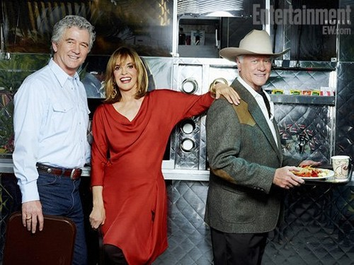 Dallas - First BTS foto of Larry Hagman, Patrick Duffy, and Linda Gray