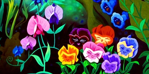 Alice in Wonderland kertas dinding called The Pansies