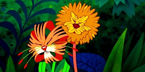 Alice in Wonderland wallpaper possibly containing a hippeastrum, a bouquet, and a jacobean lily called Tigerlily & Dandelion