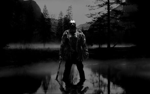 Friday the 13th wallpaper possibly with a fountain, sunniness, and a ponderosa entitled Jason in the Lake