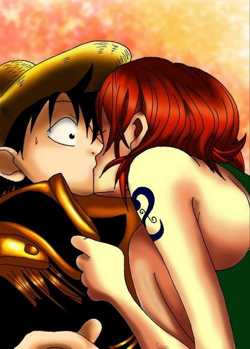 Monkey D. Luffy kertas dinding titled Luffy x Nami