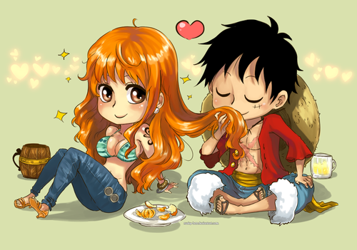 Monkey D. Luffy wallpaper containing anime titled Luffy x Nami