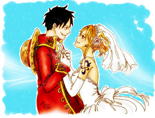 Monkey D. Luffy fond d'écran entitled Luffy x Nami