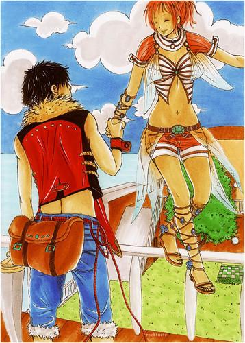 One Piece karatasi la kupamba ukuta possibly with anime titled Luffy x Nami