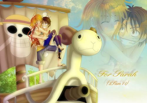 One Piece karatasi la kupamba ukuta called Luffy x Nami