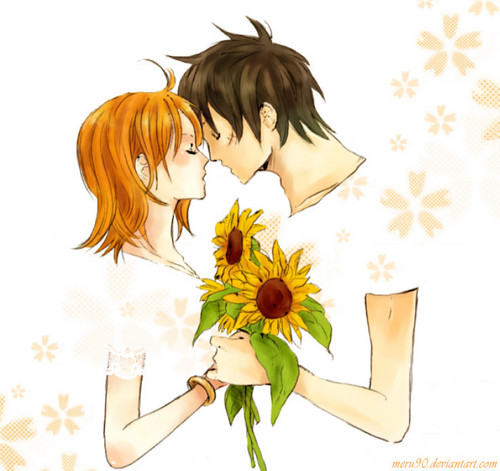 Monkey D. Luffy karatasi la kupamba ukuta containing a bouquet called Nami x Luffy