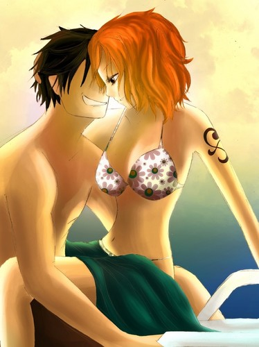 Monkey D. Luffy karatasi la kupamba ukuta probably with a bikini and attractiveness called Nami x Luffy