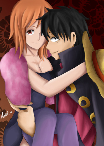 One Piece kertas dinding possibly with Anime called Nami x Luffy