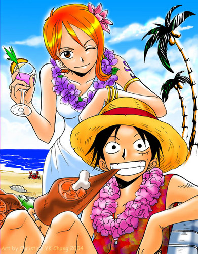 One Piece karatasi la kupamba ukuta with anime titled Nami x Luffy