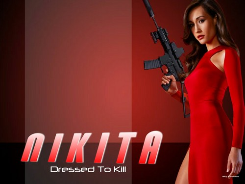 Maggie Q wallpaper probably containing a rifleman called Nikita aka Maggie Q