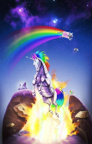 Nyan Cat karatasi la kupamba ukuta entitled Nyan Cat witha a unicorn