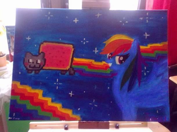 Nyan Cat Images Nyan Cat Painting Wallpaper And Background Photos