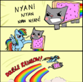 Nyan Cat with a poney