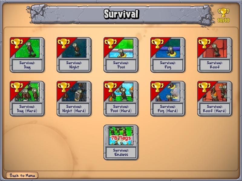 Plants vs Zombies Survival Mode
