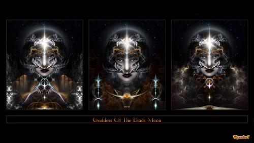 Triple Goddess Of The Black Moon Fractal Art Composition