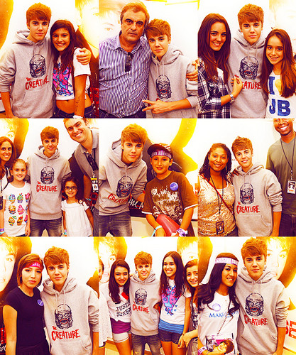 justin with fans :)
