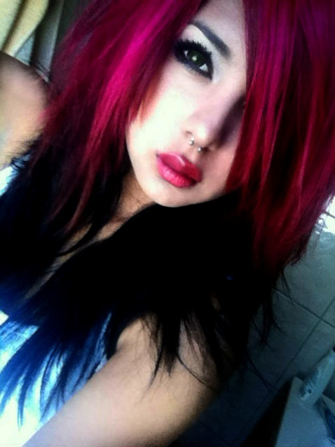 With purple pink girl emo hair and