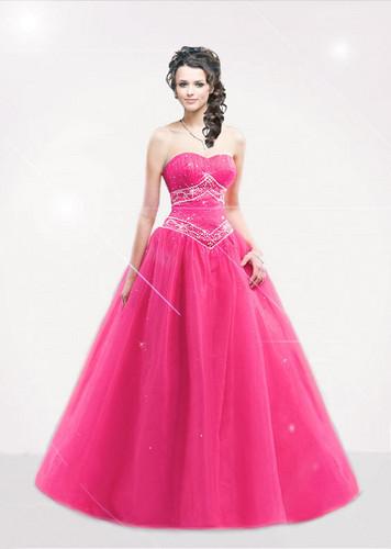 merah jambu prom dress
