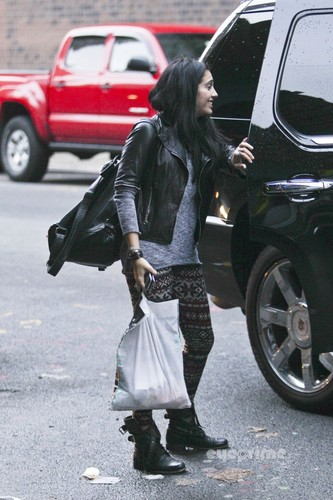 Lourdes Ciccone Leon wallpaper probably containing a hip boot, a street, and a business suit entitled Lourdes Leon on her Way to School in NYC