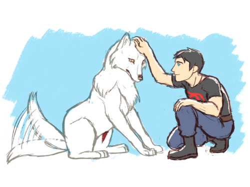A Superboy and his 狼, オオカミ