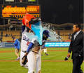 Barajas Dumps Gatorade on Kemp - los-angeles-dodgers photo
