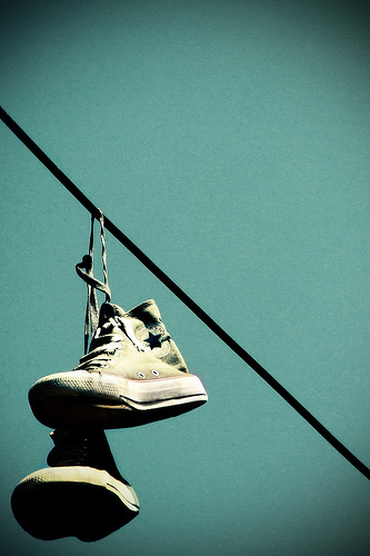 Chucks hanging from telephone wires - converse Photo