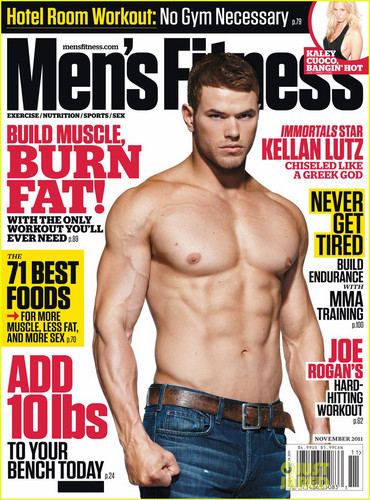 Kellan Lutz wallpaper possibly with a hunk and anime entitled Kellan Lutz: Shirtless for 'Men's Fitness' Cover!