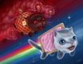 Nyan Cat chased by Tac Nayn - nyan-cat fan art