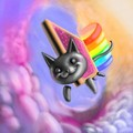 Nyan Cat in the pink Clouds