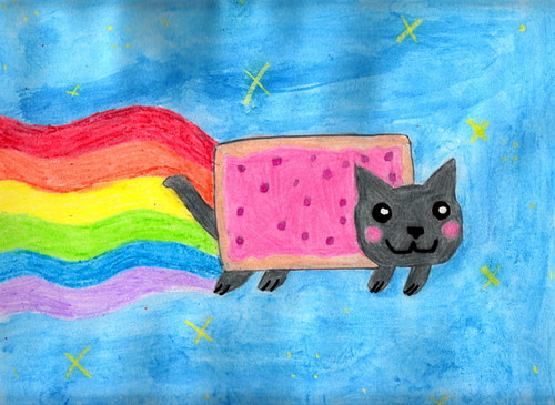 Nyan Cat karatasi la kupamba ukuta possibly with a sign called Nyan Cat