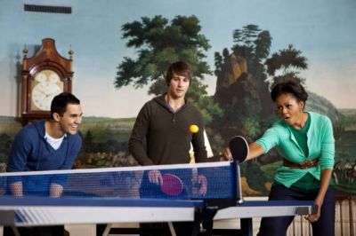 September 24, 2011 - Big Time Rush plays Ping Pong with Michelle Obama