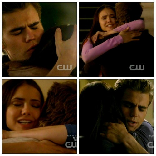 Stefan & Elena wallpaper with a portrait titled Stelena Hug Collage :)