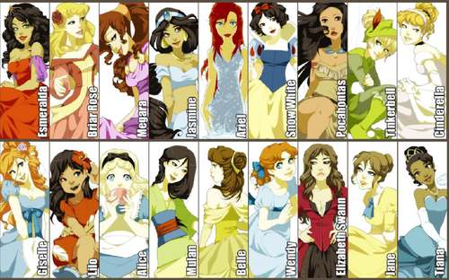 Disney Princess wallpaper with anime titled princess and non princess line up