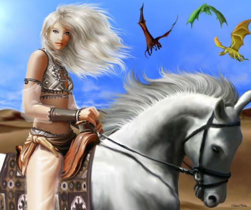 Песнь Льда и Огня Обои with a lippizan, a horse wrangler, and a horse trail called Daenerys Targaryen
