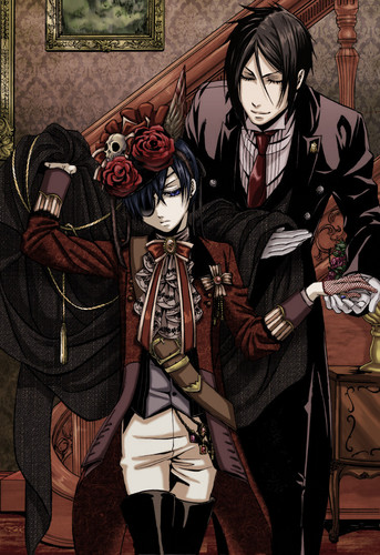 Sebastian x Ciel Phantomhive wallpaper probably with a surcoat and a tabard titled CielXSebastian