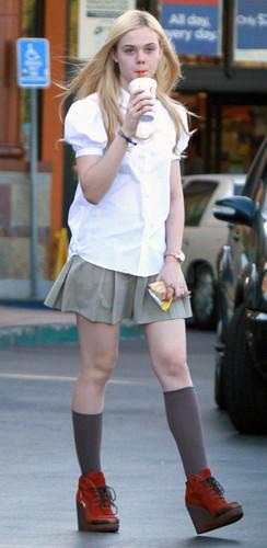 Elle Fanning getting a drink in Studio City, Oct 18