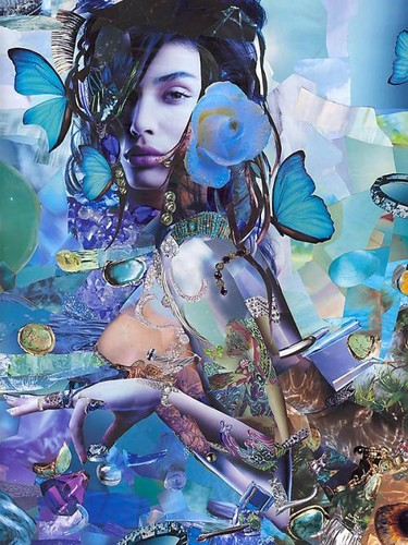 fantasi girl with blue rose