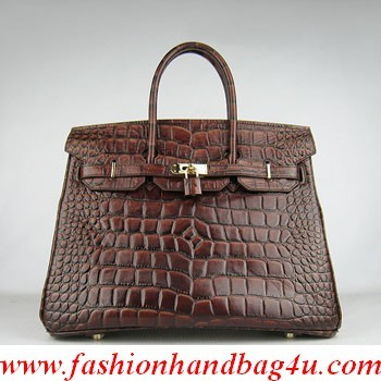 Hermes Birkin 鳄鱼 big Veins bag 6089 dark coffee